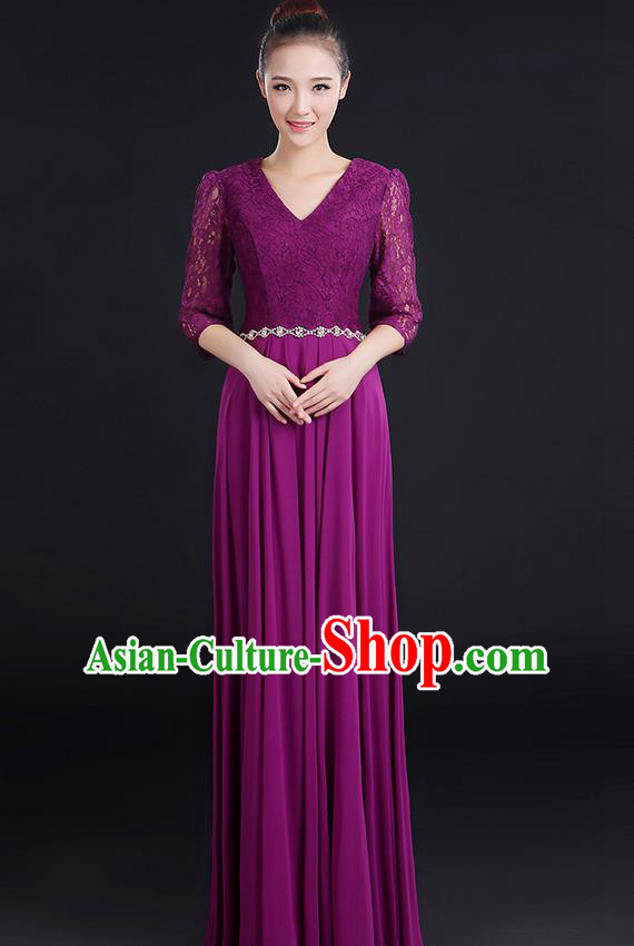 Traditional Chinese Modern Dancing Costume, Women Opening Classic Chorus Singing Group Dance Lace Clothing, Modern Dance Long Purple Dress for Women