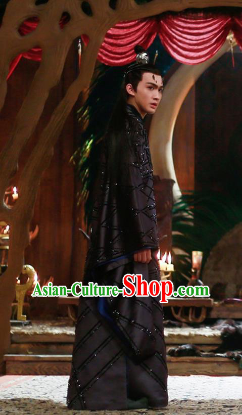 Traditional Ancient Chinese Nobility Childe Costume, Elegant Hanfu Male Lordling Dress, Cosplay Inferno Emperor Clothing, China Imperial Crown Prince Black Clothing for Men