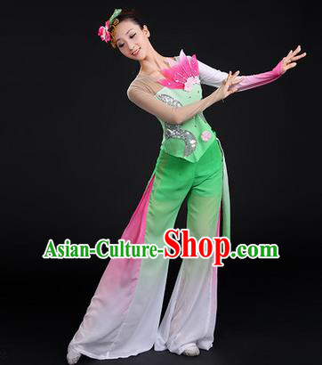 Traditional Chinese Yangge Fan Dancing Costume, Folk Dance Yangko Paillette Uniforms, Classic Lotus Dance Dress Drum Dance Clothing for Women