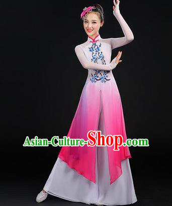 Traditional Chinese Yangge Fan Dancing Costume, Folk Dance Yangko Embroider Plum Blossom Uniforms, Classic Dance Dress Drum Dance Clothing for Women