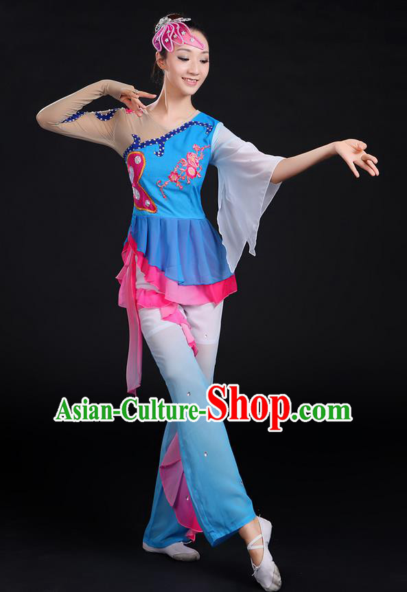 Traditional Chinese Yangge Fan Dancing Costume, Folk Dance Yangko Paillette Flowers Uniforms, Classic Dance Dress Drum Dance Blue Clothing for Women