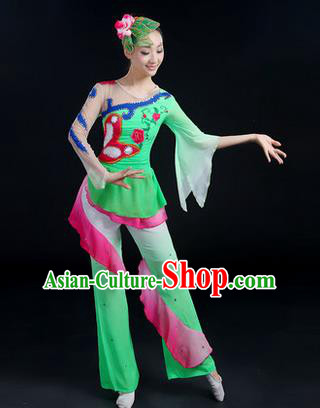 Traditional Chinese Yangge Fan Dancing Costume, Folk Dance Yangko Paillette Flowers Uniforms, Classic Dance Dress Drum Dance Green Clothing for Women