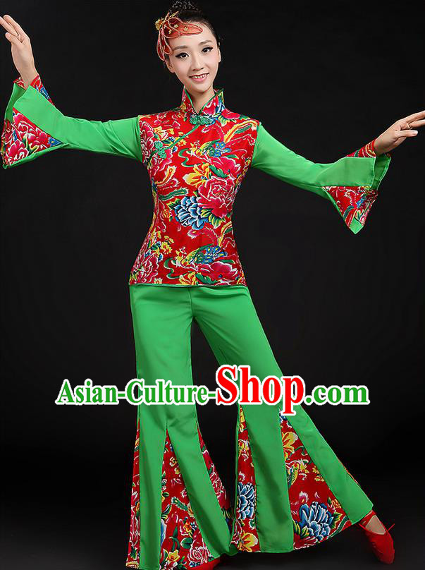 Traditional Chinese Yangge Fan Dancing Costume, Folk Dance Yangko Peony Uniforms, Classic Dance Dress Drum Dance Green Clothing for Women