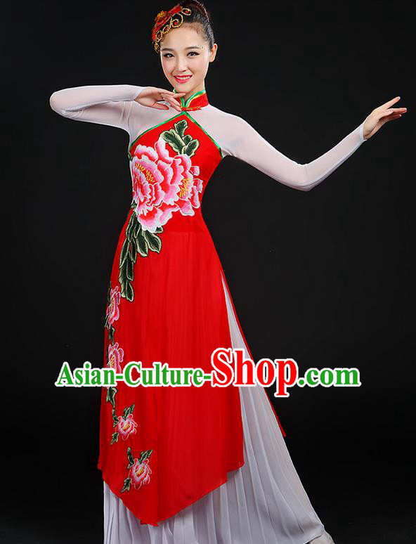 Traditional Chinese Yangge Fan Dancing Costume, Folk Dance Yangko Peony Uniforms, Classic Dance Cheongsam Dress Drum Dance Clothing for Women