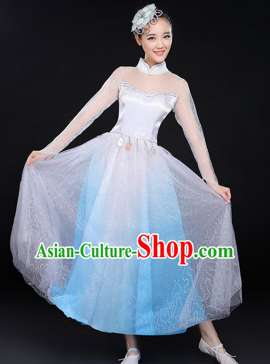 Traditional Modern Dancing Costume, Women Opening Classic Chorus Singing Group Dance Bubble Uniforms, Modern Dance Long Paillette Dress for Women
