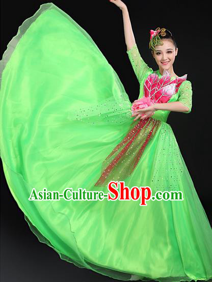 Traditional Modern Dancing Costume, Women Opening Classic Chorus Singing Group Dance Bubble Uniforms, Modern Dance Long Paillette Peony Green Dress for Women