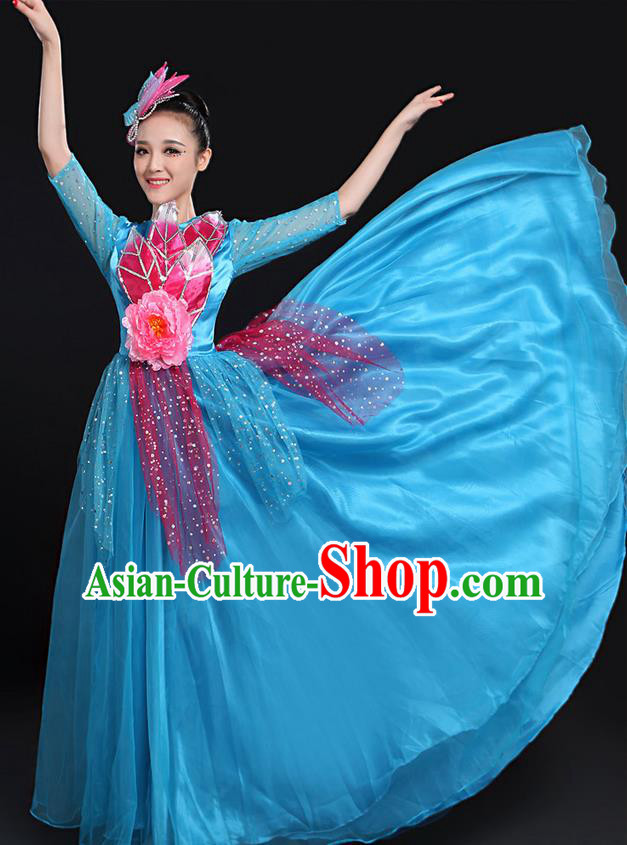 Traditional Modern Dancing Costume, Women Opening Classic Chorus Singing Group Dance Bubble Uniforms, Modern Dance Long Paillette Peony Blue Dress for Women