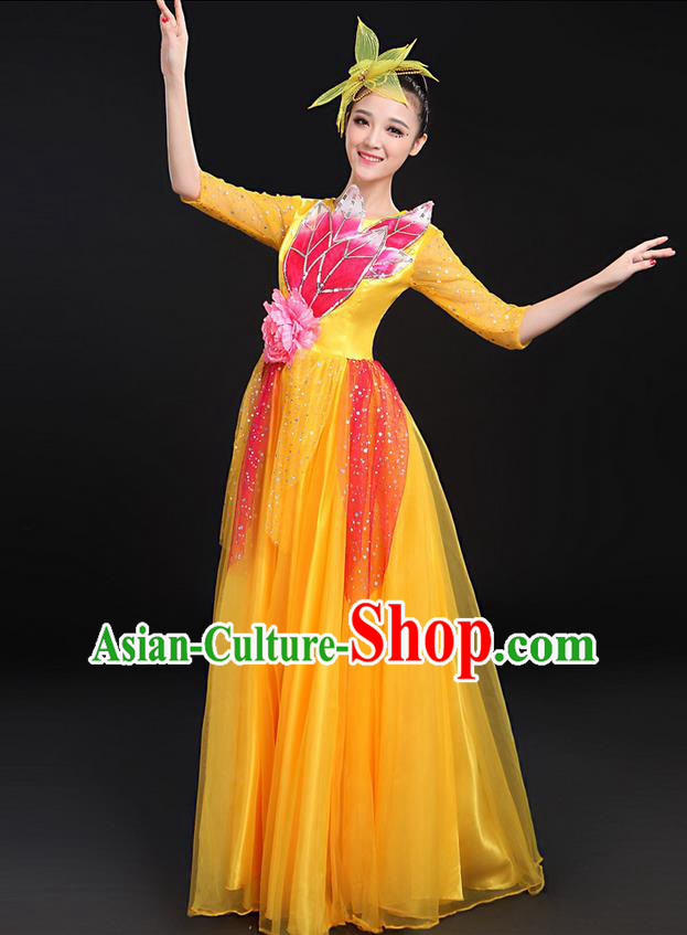 Traditional Modern Dancing Costume, Women Opening Classic Chorus Singing Group Dance Bubble Uniforms, Modern Dance Long Paillette Peony Yellow Dress for Women