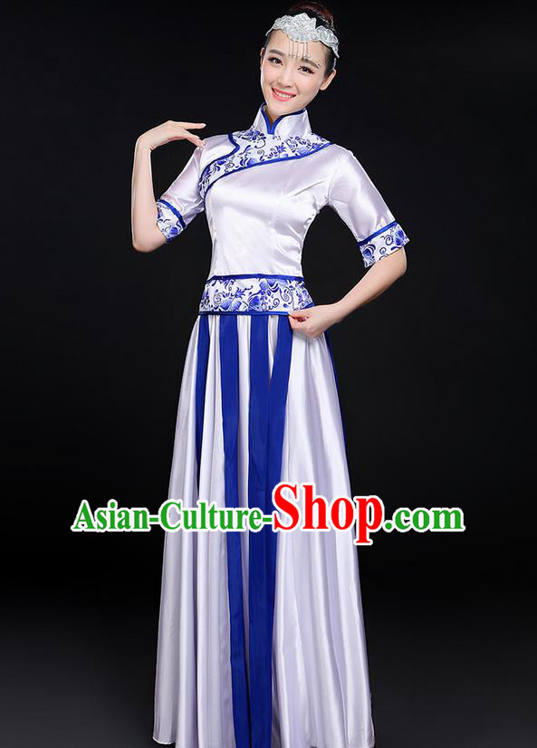 Traditional Modern Dancing Costume, Women Opening Classic Chorus Singing Group Dance Blue and White Porcelain Uniforms, Modern Dance Long Cheongsam Blue Dress for Women