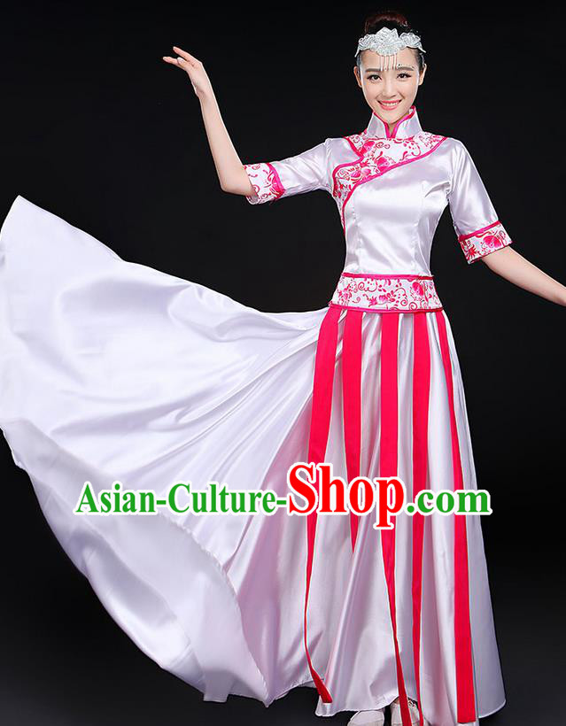 Traditional Modern Dancing Costume, Women Opening Classic Chorus Singing Group Dance Blue and White Porcelain Uniforms, Modern Dance Long Cheongsam Pink Dress for Women