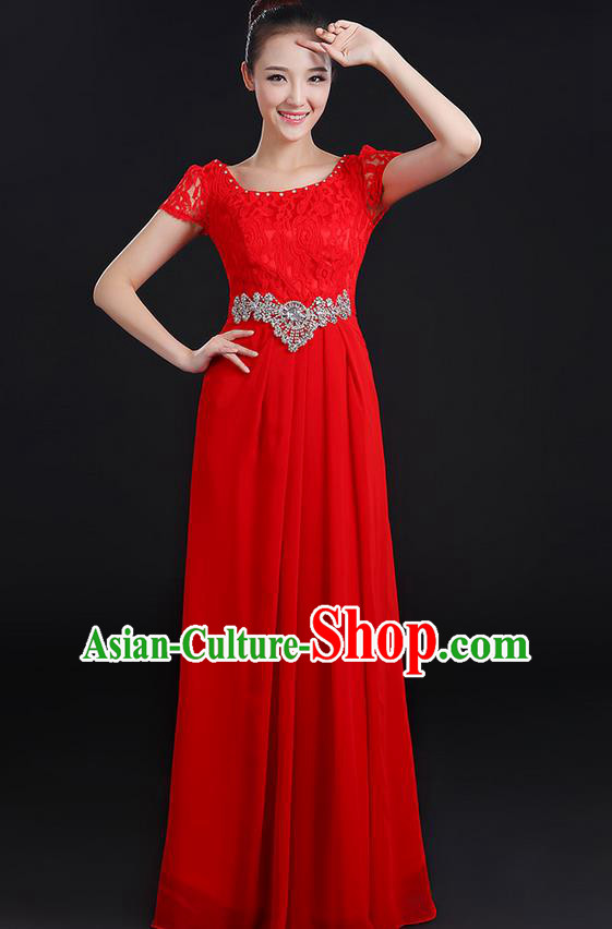Traditional Modern Dancing Compere Costume, Women Opening Classic Chorus Singing Group Dance Uniforms, Modern Dance Lace Long Red Dress for Women