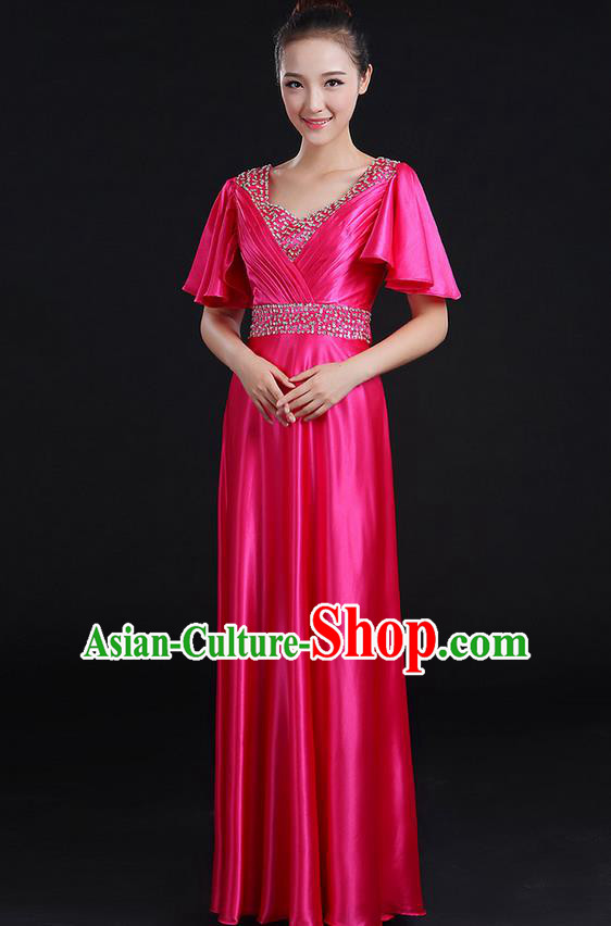 Traditional Chinese Modern Dancing Compere Costume, Women Opening Classic Chorus Singing Group Dance Uniforms, Modern Dance Crystal Long Rose Dress for Women