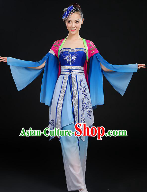 Traditional Chinese Yangge Fan Dancing Costume, Folk Dance Yangko Blue and White Porcelain Uniforms, Classic Dance Dress Drum Dance Blue Clothing for Women