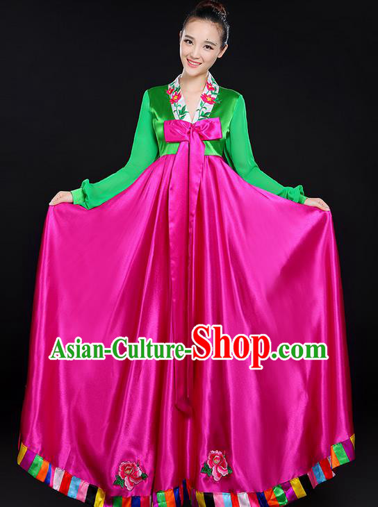 Traditional Chinese Korean Nationality Dancing Costume, Folk Dance Ethnic Costume, Chinese Koreans Minority Nationality Dancing Costume for Women