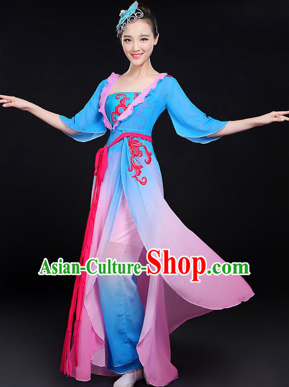 Traditional Chinese Yangge Fan Dancing Costume, Folk Dance Yangko Uniforms, Classic Dance Elegant Dress Drum Umbrella Dance Painting Lotus Clothing for Women
