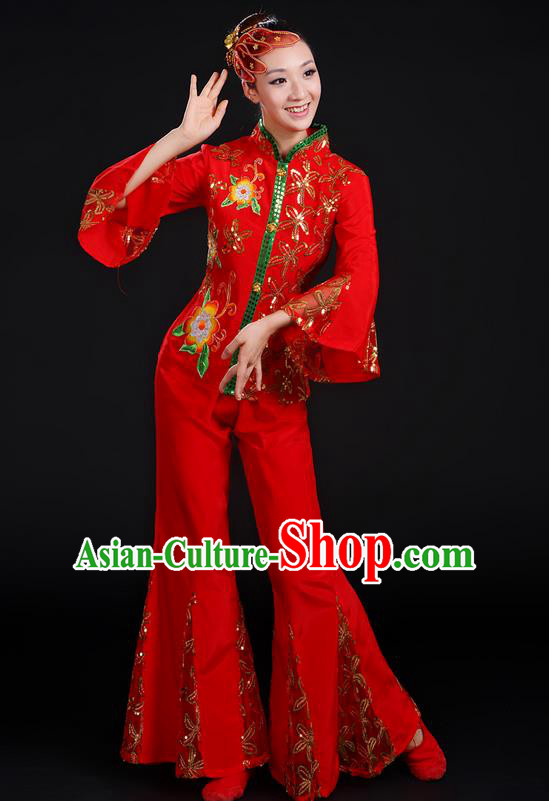 Traditional Chinese Yangge Fan Dancing Costume, Folk Dance Yangko Umbrella Dance Uniforms, Classic Dance Elegant Dress Drum Dance Red Paillette Clothing for Women