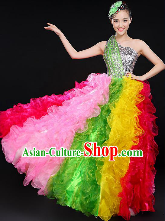 Traditional Chinese Modern Dancing Compere Costume, Women Opening Classic Chorus Singing Group Dance Big Swing Uniforms, Modern Dance Long Bubble Paillette Dress for Women