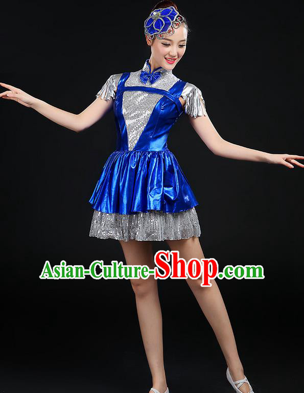 Traditional Chinese Modern Dancing Compere Costume, Women Opening Classic Chorus Singing Group Dance Big Swing Uniforms, Modern Dance Short Tassel Bubble Paillette Dress for Women
