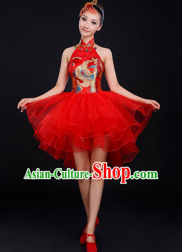 Traditional Chinese Modern Dancing Compere Costume, Women Opening Classic Chorus Singing Group Dance Dragon Uniforms, Modern Dance Classic Dance Cheongsam Red Dress for Women