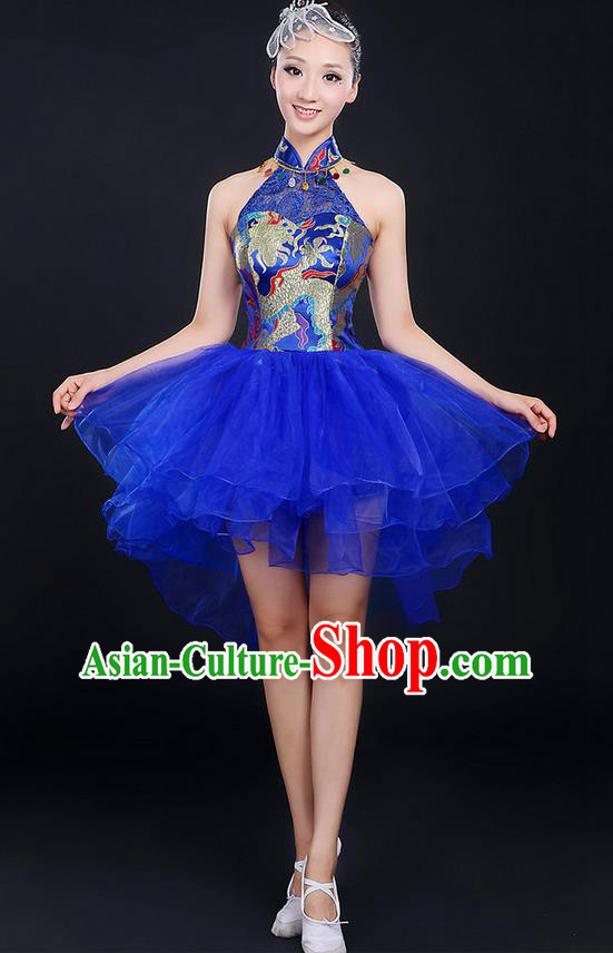 Traditional Chinese Modern Dancing Compere Costume, Women Opening Classic Chorus Singing Group Dance Dragon Uniforms, Modern Dance Classic Dance Blue Cheongsam Dress for Women