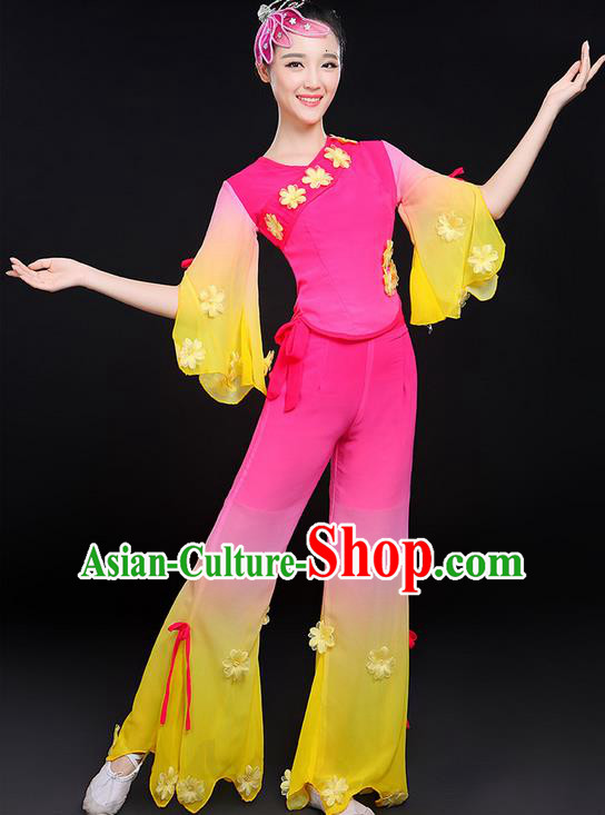 Traditional Chinese Yangge Fan Dancing Costume, Folk Dance Yangko Uniforms, Classic Dance Elegant Jasmine Flower Dress Drum Dance Clothing for Women