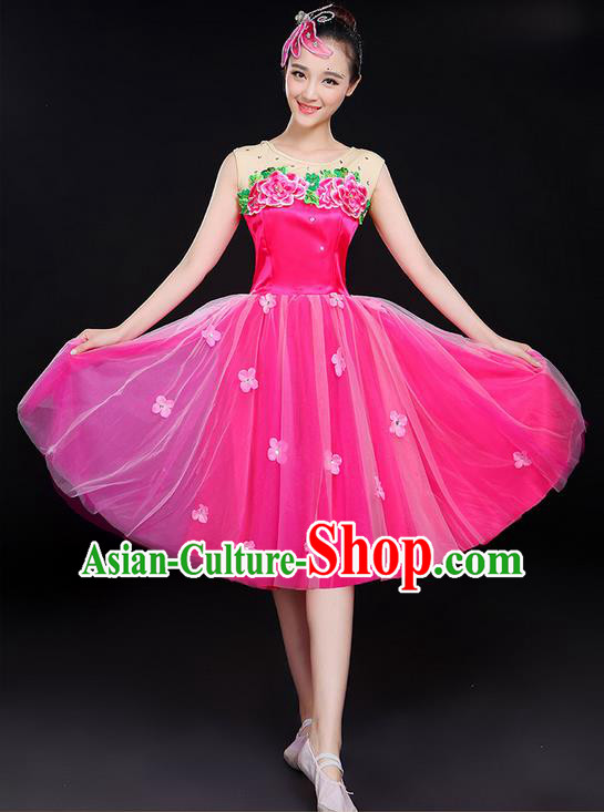 Traditional Chinese Modern Dancing Compere Costume, Women Opening Classic Chorus Singing Group Dance Uniforms, Modern Dance Classic Dance Bubble Dress for Women