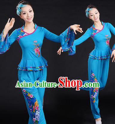 Traditional Chinese Yangge Fan Dancing Costume, Folk Dance Yangko Embroidered Peony Uniforms, Classic Umbrella Dance Elegant Dress Drum Dance Blue Clothing for Women