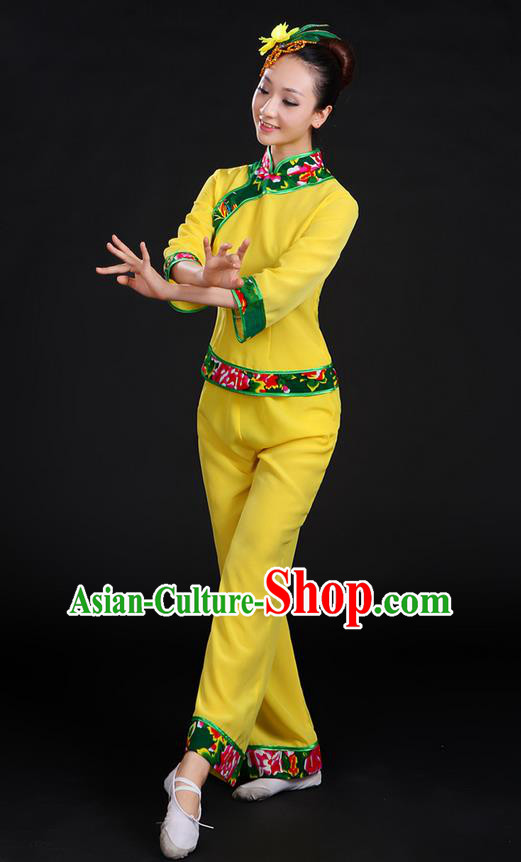 Traditional Chinese Yangge Fan Dancing Costume, Folk Dance Yangko Peony Uniforms, Classic Umbrella Dance Elegant Dress Drum Dance Yellow Clothing for Women