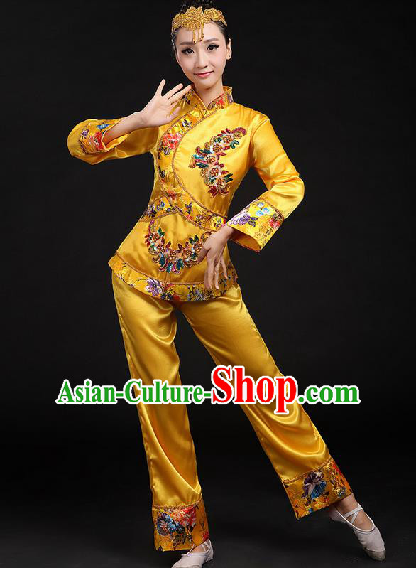 Traditional Chinese Yangge Fan Dancing Costume, Folk Dance Yangko Uniforms, Classic Umbrella Dance Elegant Dress Drum Dance Yellow Paillette Phoenix Clothing for Women