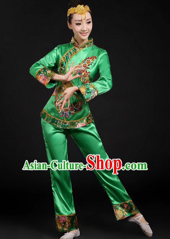 Traditional Chinese Yangge Fan Dancing Costume, Folk Dance Yangko Uniforms, Classic Umbrella Dance Elegant Dress Drum Dance Green Paillette Phoenix Clothing for Women