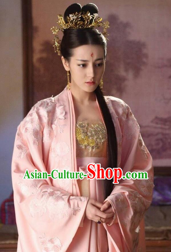 Traditional Ancient Chinese Imperial Consort Costume, Elegant Hanfu Fairy Dress, Chinese Tang Dynasty Imperial Concubine Tailing Embroidered Clothing for Women