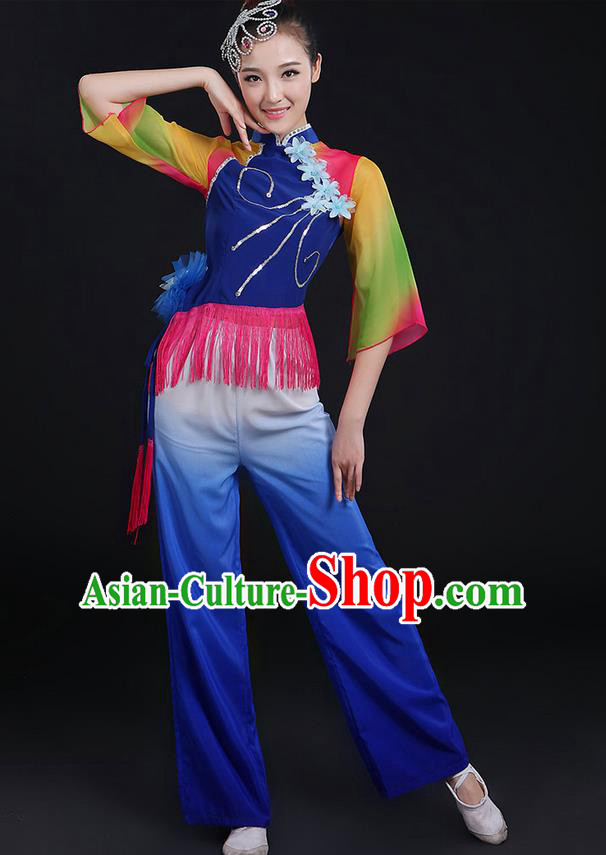 Traditional Chinese Yangge Fan Dancing Costume, Folk Dance Yangko Mandarin Sleeve Uniforms, Classic Dance Elegant Dress Drum Dance Tassel Blue Clothing for Women