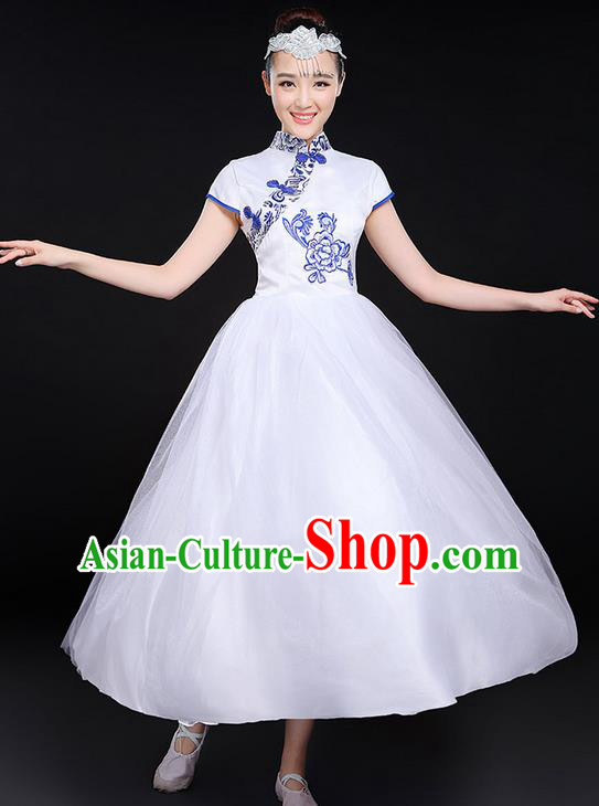 Traditional Chinese Modern Dancing Compere Costume, Women Opening Classic Chorus Singing Group Dance Uniforms, Modern Dance Classic Dance Cheongsam Bubble Dress for Women