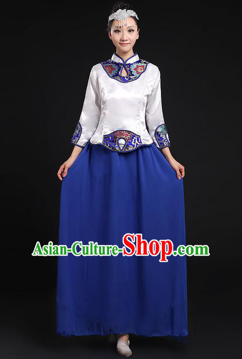 Traditional Chinese Modern Dancing Compere Costume, Women Opening Classic Chorus Singing Group Dance Uniforms, Modern Dance Classic Dance Cheongsam Blue Dress for Women
