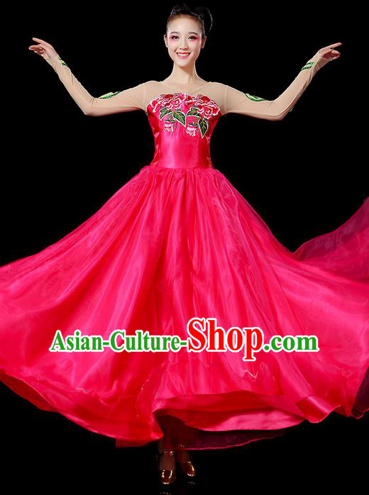 Traditional Chinese Modern Dancing Compere Costume, Women Opening Classic Chorus Singing Group Dance Uniforms, Modern Dance Classic Dance Peony Rose Big Swing Dress for Women