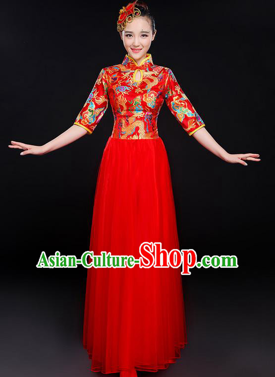 Traditional Chinese Modern Dancing Compere Costume, Women Opening Classic Chorus Singing Group Dance Bubble Uniforms, Modern Dance Classic Dance Big Swing Red Cheongsam Dress for Women