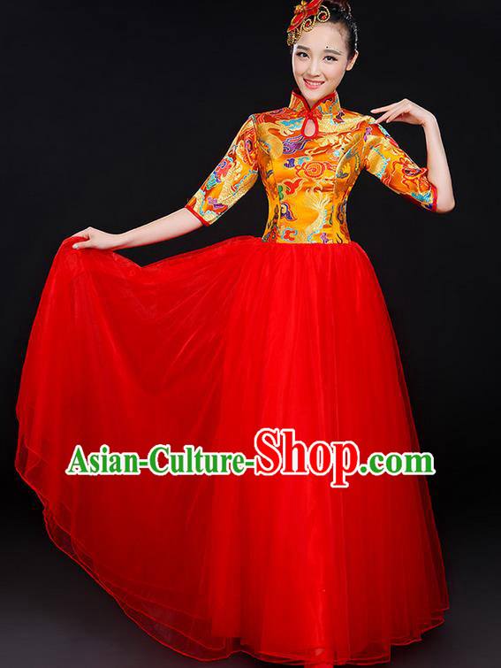 Traditional Chinese Modern Dancing Compere Costume, Women Opening Classic Chorus Singing Group Dance Bubble Uniforms, Modern Dance Classic Dance Big Swing Gold Cheongsam Dress for Women