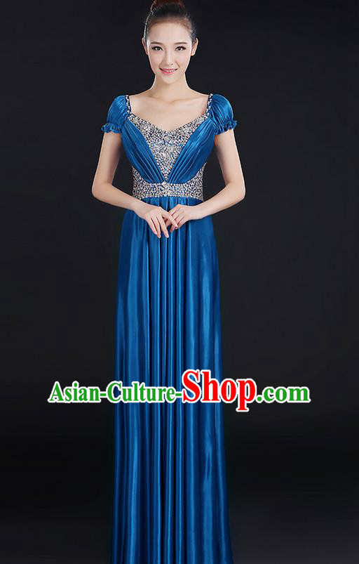 Traditional Chinese Modern Dancing Compere Costume, Women Opening Classic Chorus Singing Group Dance Crystal Dress Uniforms, Modern Dance Classic Dance Big Swing Royalblue Dress for Women