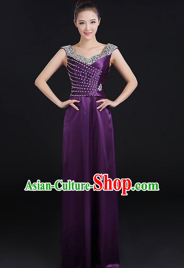 Traditional Chinese Modern Dancing Compere Costume, Women Opening Classic Chorus Singing Group Dance Crystal Dress Uniforms, Modern Dance Classic Dance Purple Dress for Women