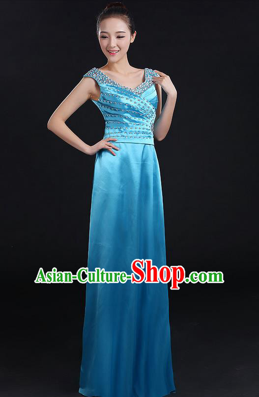Traditional Chinese Modern Dancing Compere Costume, Women Opening Classic Chorus Singing Group Dance Crystal Dress Uniforms, Modern Dance Classic Dance Blue Dress for Women