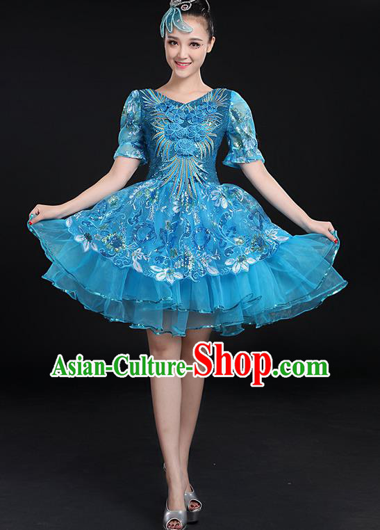 Traditional Chinese Modern Dancing Compere Costume, Women Opening Classic Chorus Singing Group Dance Paillette Uniforms, Modern Dance Bubble Short Blue Dress for Women