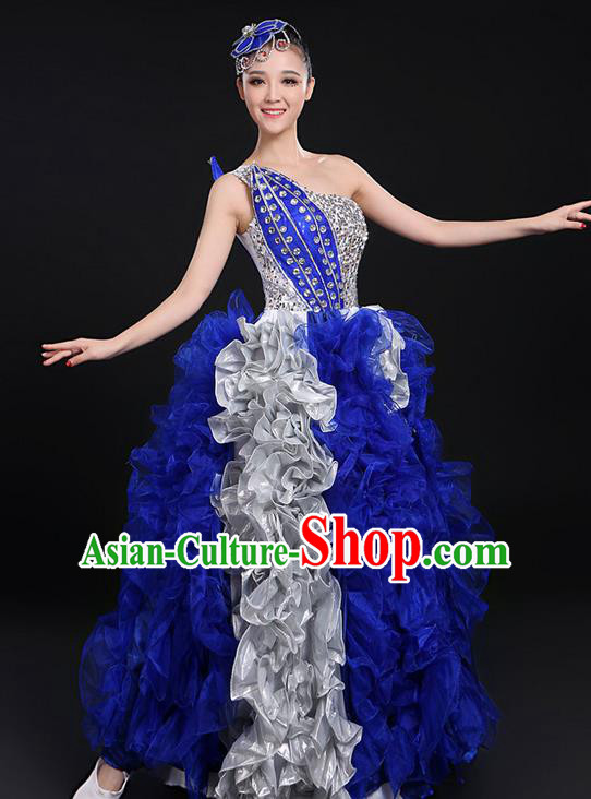 Traditional Chinese Modern Dancing Compere Costume, Women Opening Classic Chorus Singing Group Dance Paillette Dress Uniforms, Modern Dance Classic Dance Big Swing Royalblue Dress for Women