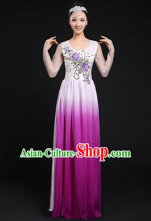 Traditional Chinese Modern Dancing Compere Costume, Women Opening Classic Chorus Singing Group Dance Dress Uniforms, Modern Dance Classic Dance Big Swing Purple Dress for Women