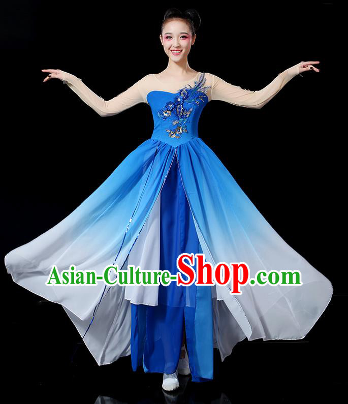 Traditional Chinese Yangge Fan Dancing Costume, Folk Dance Yangko Paillette Flowers Uniforms, Classic Umbrella Dance Elegant Peony Dress Drum Dance Clothing for Women