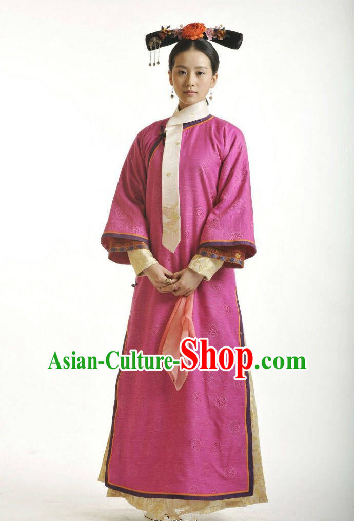 Traditional Ancient Chinese Imperial Princess Costume, Chinese Qing Dynasty Manchu Palace Lady Dress, Chinese Mandarin Robes Imperial Princess Embroidered Red Clothing for Women