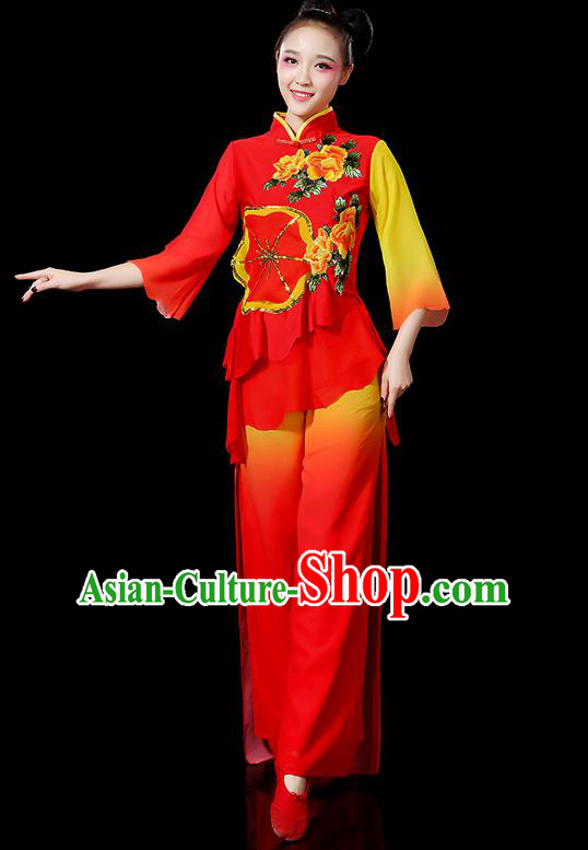 Traditional Chinese Yangge Fan Dancing Costume, Folk Dance Yangko Mandarin Sleeve Embroidered Peony Uniforms, Classic Umbrella Dance Elegant Dress Drum Dance Red Clothing for Women