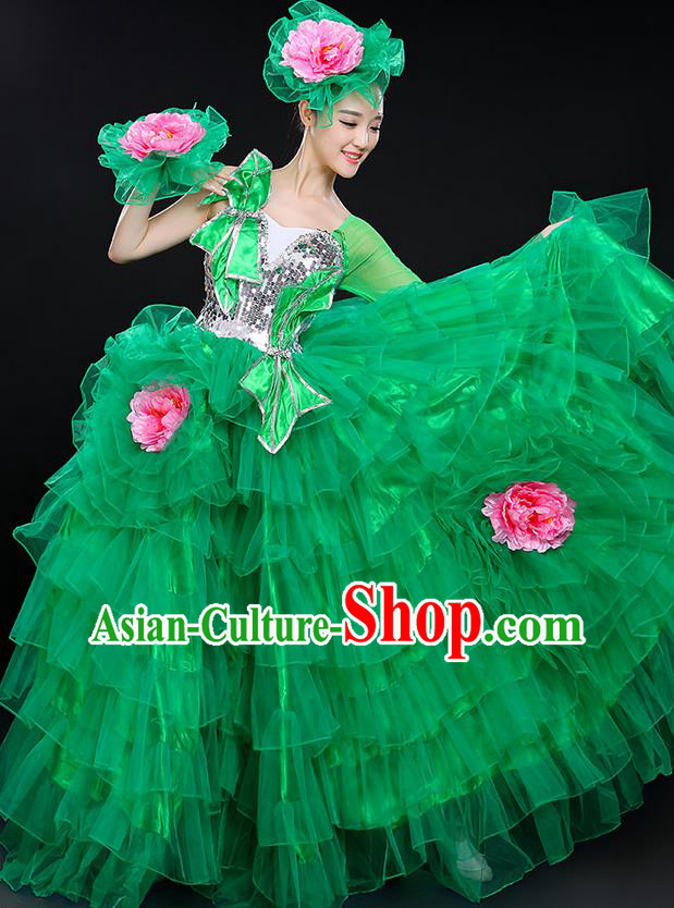 Traditional Chinese Modern Dancing Compere Costume, Women Opening Classic Chorus Singing Group Dance Bubble Peony Uniforms, Modern Dance Classic Dance Big Swing Green Dress for Women