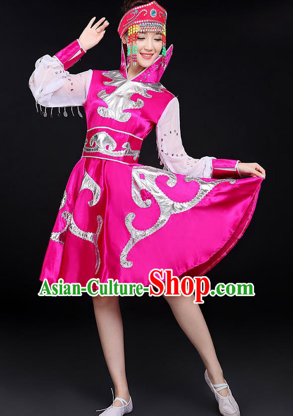 Traditional Chinese Mongol Nationality Dancing Costume, Mongols Female Folk Dance Ethnic Pink Skirt, Chinese Mongolian Minority Nationality Embroidery Costume for Women