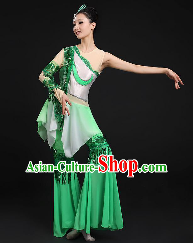 Traditional Chinese Yangge Fan Dancing Costume, Folk Dance Yangko Flowers Paillette Green Uniforms, Classic Umbrella Dance Elegant Dress Drum Dance Clothing for Women