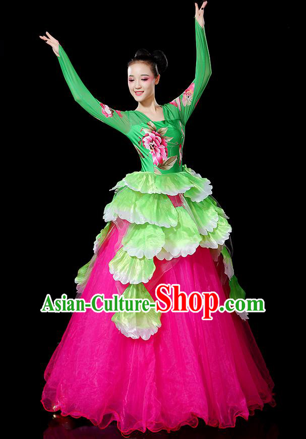 Traditional Chinese Modern Dancing Compere Costume, Women Opening Classic Chorus Singing Group Dance Bubble Peony Uniforms, Modern Dance Classic Dance Big Swing Dress for Women